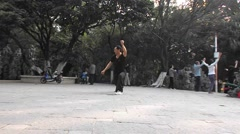 A man in China Wushu Exercises Stock Footage