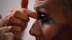 Actress Girl makeup before going to a theater function in detail Stock Footage