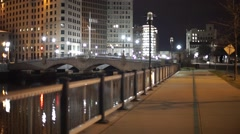 Providence City Park near River Night Stock Footage