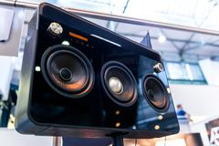 Subwoofers on the road outdoors Stock Photos