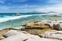 The remote beach Anse Aux Cedres, La Digue, Seychelles - stock photo