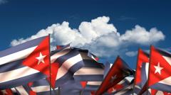 Waving Cuban Flags Stock Footage