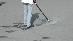 Street cleaning with hot steam technology, environment. Stock Footage