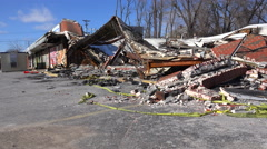 Buildings lie flattened burned and destroyed following rioting in ferguson, Stock Footage