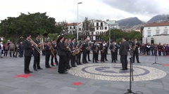 4k Orchestra plays at public music event in Funchal Madeira Stock Footage