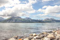 Arctic mountains and fjord Stock Photos