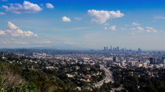 4K Los Angeles View From Mulholland Drive and Hollywood Bowl Overlook (Wide) Stock Footage