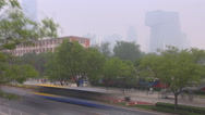 Stock Video Footage of Timelapse aerial view CCTV building traffic street highway Beijing center smog