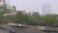 Stock Video Footage of Aerial view traffic street freeway China Central Television Beijing financial