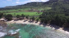 Cole Bay aerial footage of the coast - stock footage
