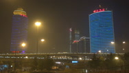 Stock Video Footage of Traffic street suspended freeway Beijing financial district modern tower night
