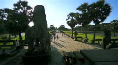 Tourists walking in Angkor Wat, Siem Reap, Cambodia Stock Footage