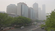 Stock Video Footage of Aerial view busy freeway financial district business area Beijing traffic street
