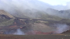 Steam and Fog and Cinder Cones at Haleakala National Park - stock footage