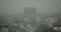 4K video of Shichahai from Jingshan Park in Beijing, China Stock Footage