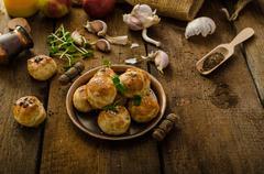 Cheese mini buns from domestic dough - stock photo