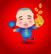 Chinese New Year  man with smile mask on red background - stock illustration