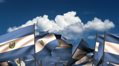Waving El Salvadorian Flags Stock Footage