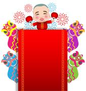 Chinese New Year lion dance and man with smile mask - stock illustration