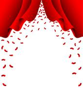 Red ribbon fall from red curtain on white background - stock illustration