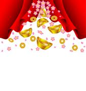 Sakura blossom and gold ingot fall from red curtain - stock illustration
