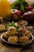 Cheese mini buns from domestic dough Stock Photos