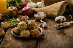 Cheese mini buns from domestic dough Stock Photos