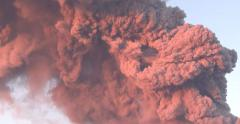 Close Up Billowing Volcanic Ash Cloud Eruption Stock Footage