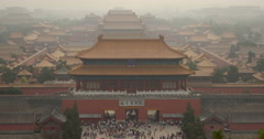 4K video of the Forbidden City viewed from Jingshan Hill in Beijing, China Stock Footage