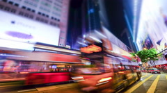 hong kong city crowded street night view. tilt shift - stock footage