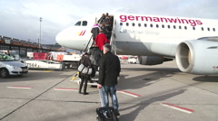 BERLIN, GERMANY: Passengers airplane at Tegel Airport. Stock Footage
