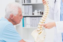 Doctor explaining anatomical spine to senior man - stock photo