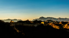 The beauty of Jinshanling Great Wall at sunset Stock Footage