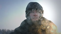 Snowmobile Driver's Face Closeup - stock footage