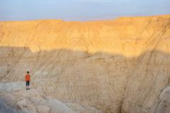 Arava desert in the last rays of the sun Stock Photos