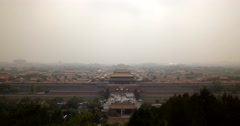 4K video of a smog covered Forbidden City in Beijing, China - stock footage