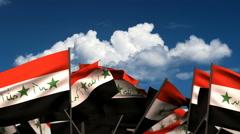 Waving Iraqi Flags Stock Footage