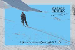 Stock Illustration of Silhouette skier successfully descends from the Alpine slopes.