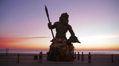 Va Beach King Neptune Silhouette Stock Footage