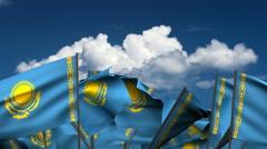 Waving Kazakh Flags Stock Footage