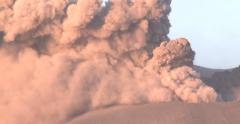 Ash Erupts Vigorously From Volcano Crater Close Up Stock Footage