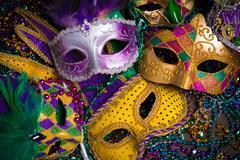 Mardi Gras Masks with beads - stock photo