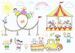 Happy children ride on the carousel Piirros