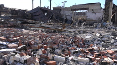 Acres of rubble are all that is left of buildings following rioting in Ferguson, Stock Footage