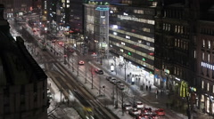 Helsinki Mannerheimintie traffic night timelapse 360° shutter 100% fluid motion Stock Footage