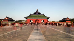 The view of the Qinian Hall and its gate in the Temple of Heaven, Beijing, China Stock Footage