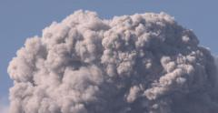Large Volcanic Ash Cloud Rises Into Sky After Eruption At Volcano Stock Footage