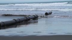 Beach pipe broken 4 Stock Footage