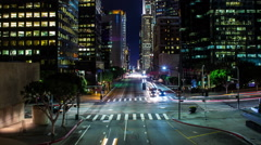 HD Street in Downtown Los Angeles Timelapse At Night Stock Footage