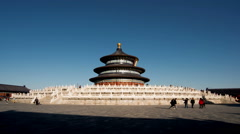 Different view of the Qinian Hall and the visitors in the Temple of Heaven Stock Footage
